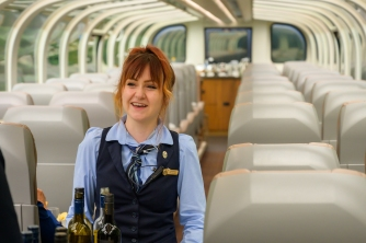 Chelsea, our hostess aboard the Rocky Mountaineer
